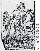 Planetary figure of Mercury. From 'Sphaera mundi', Strasburg, 1539. Редакционное фото, агентство World History Archive / Фотобанк Лори