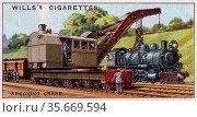 Engineering Wonders, 1927:  British Wrecking Crane for clearing railway track. Редакционное фото, агентство World History Archive / Фотобанк Лори