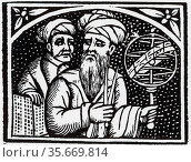 Astronomers. From title page of 'Opera' of Appolonius of Perga, 1537. Редакционное фото, агентство World History Archive / Фотобанк Лори