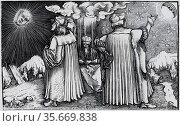 Philosopher listens to advocates of geocentric and heliocentric systems of the universe. Woodcut. Редакционное фото, агентство World History Archive / Фотобанк Лори