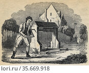 Man raising bucket of water from a well by turing crank handle and winding rope round windlass .Engraving 1836. Редакционное фото, агентство World History Archive / Фотобанк Лори