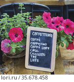 Rome, Italy. List of coffee types available at cafe in Campo dei ... Стоковое фото, фотограф Ken Welsh / age Fotostock / Фотобанк Лори