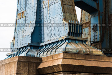Detail of Pillar of Manhattan Bridge in New York City. Steel Abutment...
