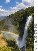 Marmore falls, Cascata delle Marmore, in Umbria region, Italy. Стоковое фото, фотограф Richard Semik / easy Fotostock / Фотобанк Лори