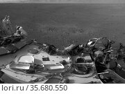 This full-resolution image shows part of the deck of NASA's Curiosity... Редакционное фото, агентство World History Archive / Фотобанк Лори