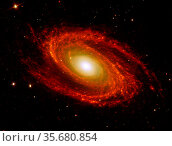 The spiral arms of the nearby galaxy Messier 81, located at a distance... Редакционное фото, агентство World History Archive / Фотобанк Лори