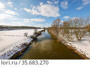 Winter landscape, Lippe, Schermbeck, Ruhr area, North Rhine-Westphalia, Germany. Редакционное фото, агентство Caro Photoagency / Фотобанк Лори