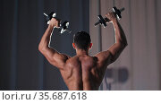 Athletic shirtless man training his hands muscles with the dumbbells - view from the back. Стоковое видео, видеограф Константин Шишкин / Фотобанк Лори
