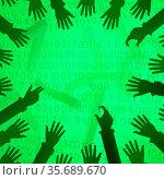 Virtual digits abstract 3d illustration, arm shadows reaching, horizontal... Стоковое фото, фотограф Zoonar.com/Viktors Ignatenko / easy Fotostock / Фотобанк Лори
