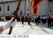 14 th July National day of France. Ceremony. Saint Gervais. France. Стоковое фото, фотограф Pascal Deloche / Godong / age Fotostock / Фотобанк Лори