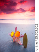 Starfish surfer in sunglasses on the beach and beautiful sunset on... Стоковое фото, фотограф Zoonar.com/Ivan Mikhaylov / easy Fotostock / Фотобанк Лори