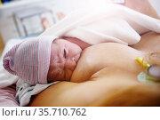 Mother breast feeding newborn baby after labor. Стоковое фото, фотограф Сергей Новиков / Фотобанк Лори