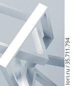 Abstract geometric installation, blue toned 3d art. Стоковая иллюстрация, иллюстратор EugeneSergeev / Фотобанк Лори