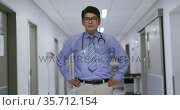 Portrait of asian male doctor with hands on hips smiling while standing in the corridor at hospital. Стоковое видео, агентство Wavebreak Media / Фотобанк Лори
