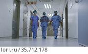 Diverse female doctors wearing face masks talking walking in hospital corridor. Стоковое видео, агентство Wavebreak Media / Фотобанк Лори