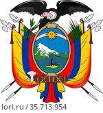 National coat of arms of the Republic of Ecuador. (2015 год). Редакционное фото, фотограф Peter Probst / age Fotostock / Фотобанк Лори