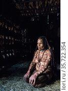 Dani tribe woman , Jiwika village, Suroba, Trikora Mountains, West Papua, Indonesia. October 2020. Стоковое фото, фотограф Pete Oxford / Nature Picture Library / Фотобанк Лори