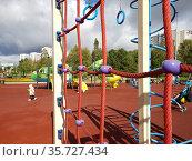 Moscow, Russia - Sept 18. 2020. Playground with sports equipment. Редакционное фото, фотограф Володина Ольга / Фотобанк Лори