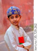 Local boy standing near the wall of Taj Mahal complex in Agra, Uttar... Стоковое фото, фотограф Zoonar.com/Don Mammoser / age Fotostock / Фотобанк Лори