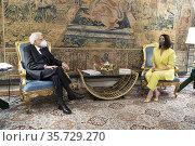Italian Republic President Sergio Mattarella during the meeting with... Редакционное фото, фотограф Quirinale press office / AGF/Quirinale press offic / age Fotostock / Фотобанк Лори