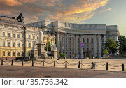 Ministry of Foreign Affairs of Ukraine in Kyiv, Ukraine. Редакционное фото, фотограф Sergii Zarev / Фотобанк Лори