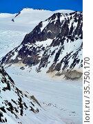 The lower Aletsch Glacier, below the Hohstock. The longest glacier... Стоковое фото, фотограф Neil Harrison / age Fotostock / Фотобанк Лори