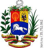 Coat of arms of the Bolivarian Republic of Venezuela. (2019 год). Редакционное фото, фотограф Peter Probst / age Fotostock / Фотобанк Лори