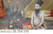 Kumbh Mela Haridwar India. Sadhu or Saint of meditating at Mahakumbh . Appleprores 422 Cinetone 60fps. Редакционное видео, видеограф Devendra Rawat / Фотобанк Лори