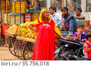 Local woman standing at the street market in Fatehpur Sikri, Uttar... Стоковое фото, фотограф Zoonar.com/Don Mammoser / age Fotostock / Фотобанк Лори