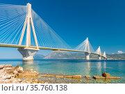 Modern Bridge Rion-Antirion. The bridge connecting the cities of Patras and Antirrio, Greece (2019 год). Стоковое фото, фотограф Константин Лабунский / Фотобанк Лори