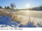 Wassara river in Gällivare town in winter season, frozen river and... Стоковое фото, фотограф Mats Lindberg / age Fotostock / Фотобанк Лори