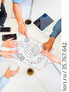 Kreatives Business Team diskutiert Projekt Ideen in einem Brainstorming... Стоковое фото, фотограф Zoonar.com/Robert Kneschke / age Fotostock / Фотобанк Лори