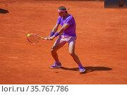 Rafael Nadal of Spain during the Mutua Madrid Open tennis tournament... Редакционное фото, фотограф Oscar Gonzalez / WENN / age Fotostock / Фотобанк Лори
