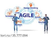 Businessman in various agile methods concept. Стоковое фото, фотограф Elnur / Фотобанк Лори