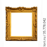 Wooden vintage gold-plated frame isolated on white background. Стоковое фото, фотограф Наталья Волкова / Фотобанк Лори