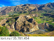 View of Colca Canyon in Peru. It is one of the deepest canyons in... Стоковое фото, фотограф Zoonar.com/Don Mammoser / age Fotostock / Фотобанк Лори