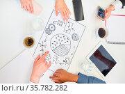 Business Leute sammeln gemeinsam kreative Ideen im Brainstorming ... Стоковое фото, фотограф Zoonar.com/Robert Kneschke / age Fotostock / Фотобанк Лори
