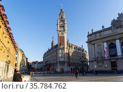 Lille, France - September 1, 2018: High clock tower on the Theater... Стоковое фото, фотограф Zoonar.com/Sergey Rybin / age Fotostock / Фотобанк Лори