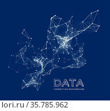 Abstract network connection. Vector technology background on dark blue. Стоковое фото, фотограф Zoonar.com/Maxim Pavlov / age Fotostock / Фотобанк Лори