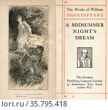 Frontispiece and title page from the Shakespeare play A Midsummer... Редакционное фото, фотограф Classic Vision / age Fotostock / Фотобанк Лори