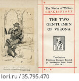 Frontispiece and title page from the Shakespeare play The Two Gentlemen... Редакционное фото, фотограф Classic Vision / age Fotostock / Фотобанк Лори