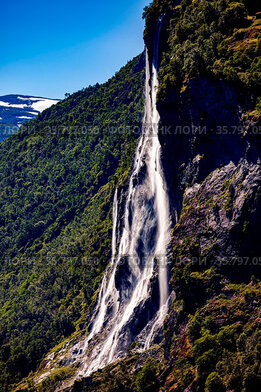 Geiranger fjord, waterfall Seven Sisters. Beautiful Nature Norway...