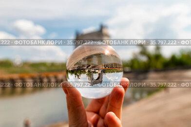 Arch gateway shipping Volga-don canal. Photo taken through the lensball...