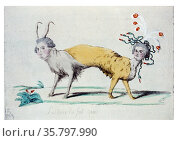 Les deux ne font qu'un. Louis XVI and Marie Antoinette as a two-headed... Редакционное фото, агентство World History Archive / Фотобанк Лори