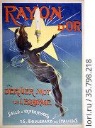 Poster advertising Rayon d'or - dernier mot de l'eclairage. Showing... Редакционное фото, агентство World History Archive / Фотобанк Лори