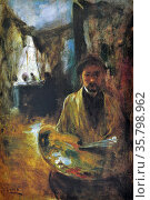 Juan Luna, Self-Portrait, 1885 (Paris). Oil on panel board. Редакционное фото, агентство World History Archive / Фотобанк Лори