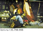 Roland Dellos Santos, Market Scene 1986. Oil on canvas. Редакционное фото, агентство World History Archive / Фотобанк Лори