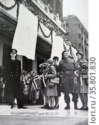 King Haakon; Crown Princess Martha; Prince Olav; Princess Ragnhild; princess Astrid of Norway return home after the liberation of Norway after World War Two. Редакционное фото, агентство World History Archive / Фотобанк Лори