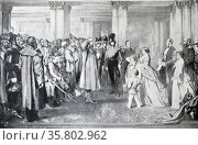 Queen Victoria; Prince Albert and her children receive war veterans from Crimea. 1855. Редакционное фото, агентство World History Archive / Фотобанк Лори