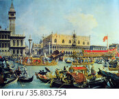 Antonio Canaletto (1697-1768) 'Ascension Day at Venice, and detail of a boat' oil on canvas. Редакционное фото, агентство World History Archive / Фотобанк Лори